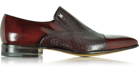 Slip On Gucci Maroon Ds lyst moreschi metz burgundy leather slip on loafer in brown for
