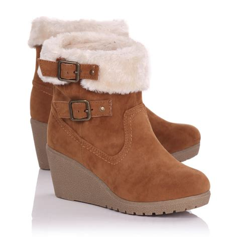 womens suede buckle wedge boots