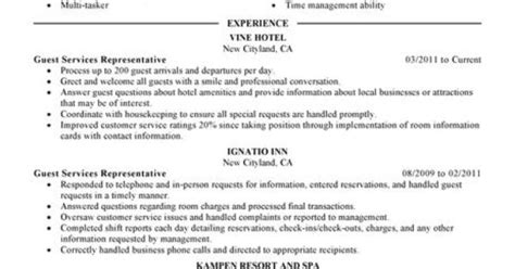 Hotel Guest Service Sle Resume by Guest Service Representative Resume Exle Hotel Hospitality Sle Resumes Livecareer