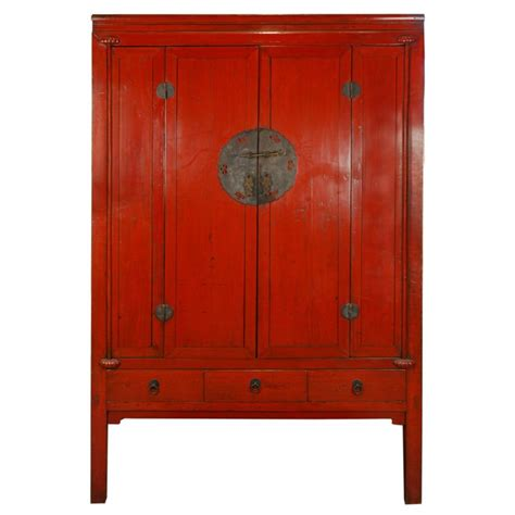 red lacquer cabinet 19th century chinese red lacquer cabinet at 1stdibs