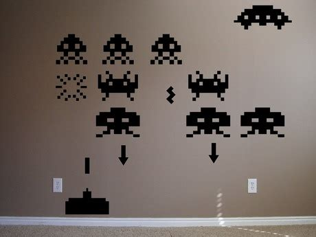 space invaders wall stickers vinyl wall decal stickers space invaders bombgrafx home garden on artfire