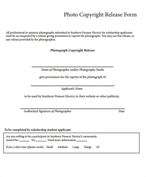 photographer copyright release form template sle copyright release form 9 exles in word pdf