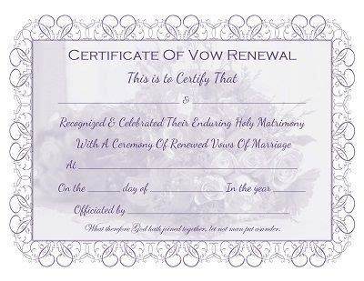 Wedding Vow Renewal Certificate Printable   printable