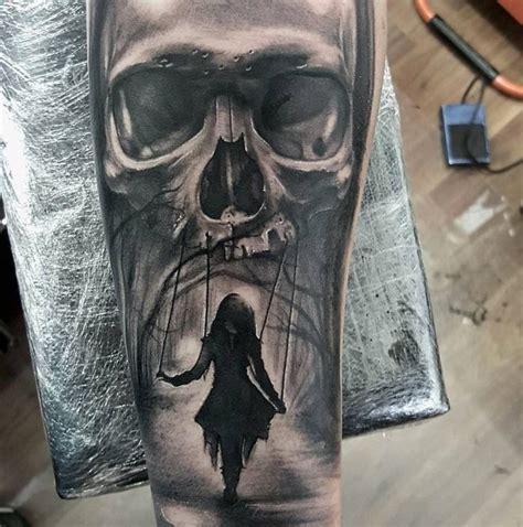 tattoo girl on swing realistic skull and swinging girl tattoo on forearm by