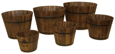 wooden whiskey barrel planters devault enterprises devbp208 6 wooden whiskey barrel