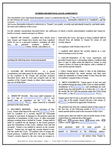 Rental Agreement Template Florida by Free Florida Residential Lease Agreement Template Pdf Word