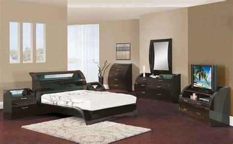 Modern Bedroom Set Furniture Black Zebrano 5pc King Size Modern Bedroom Set Bed Global