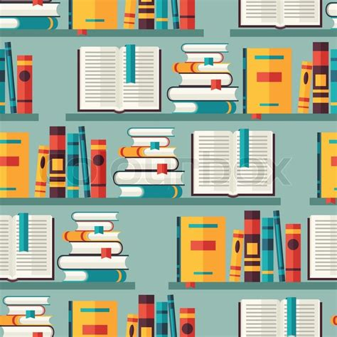 pattern library vector seamless pattern with books on bookshelves in flat design