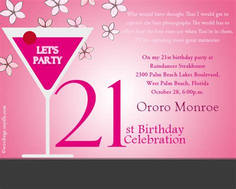 21st birthday invitation wording wordings and messages - 21st Birthday Invitation Wording Sles