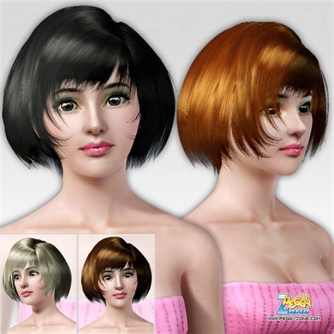Sims 3 Custom Content Fringe Hairstyle | the sims 3 bob with fringe on the neck hairstyle id 116 by