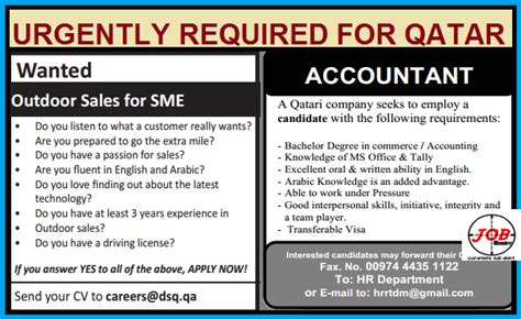 Infopark For Mba Freshers by Accountant Sales Vacancy In Qatar Jobhunferfb