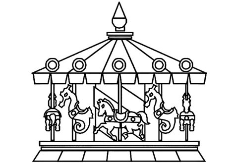carnival carousel coloring page coloring pages