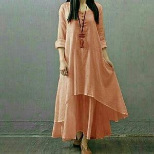 Gamis Pink Salem baju dress panjang dress gamis susun polos modern