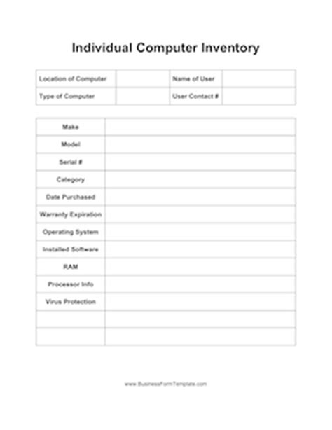 Individual Computer Inventory Template Computer Inventory Template