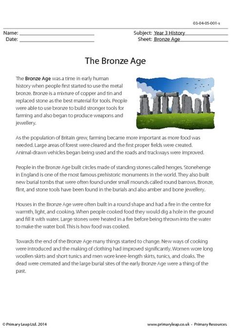 printable reading comprehension year 3 reading comprehension the bronze age primaryleap co uk