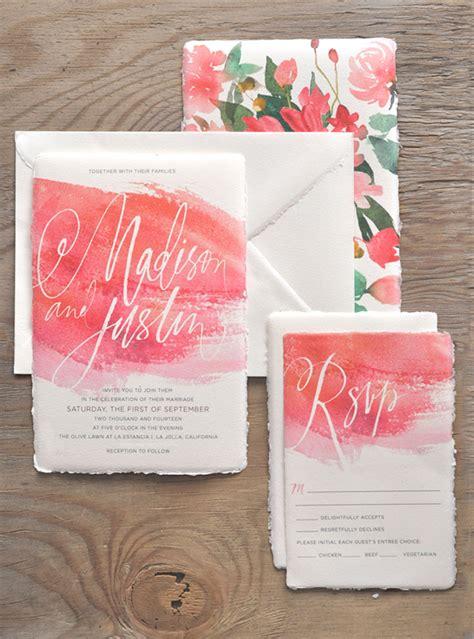 Wedding Invitations Watercolor by Watercolor Calligraphy Wedding Invitations By Julie Song Ink