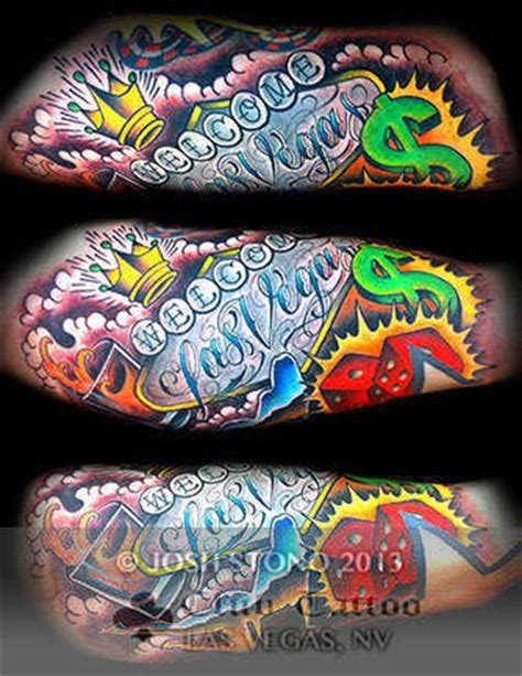 tattoo convention las vegas 2018 joshstono dollar sign lettering crown dice las vegas