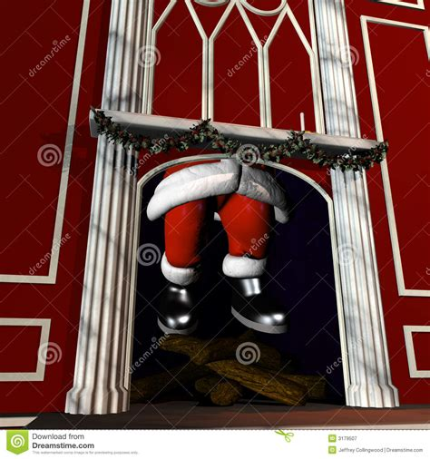 santa going down chimney 5 stock illustration image of