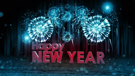 new year stage animated merry text with fireworks display in