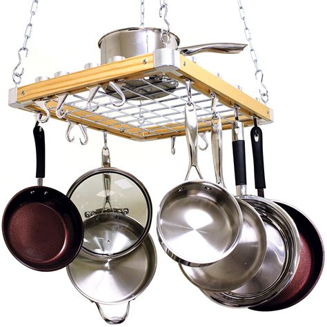 Ceiling Mounted Pot And Pan Rack cooks standard ceiling mount wooden pot rack new free shipping ebay