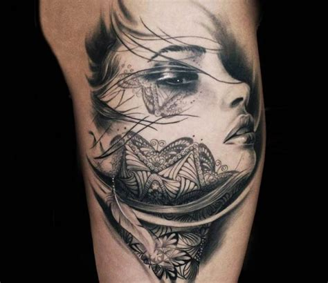 female face tattoo by steffi eff best tattoos