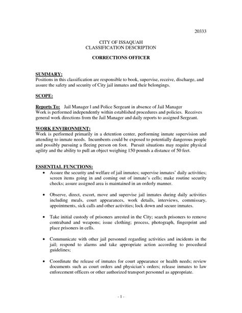 9 correctional officer description resume duties correctional officer skills