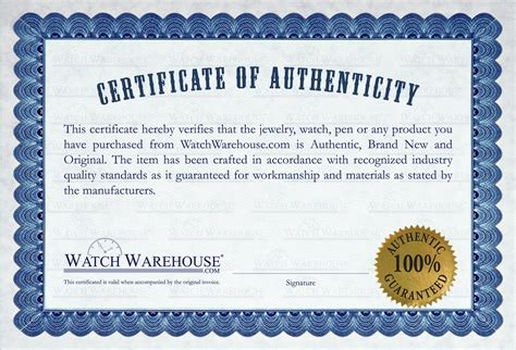 certificate of authenticity autograph template authentic brand new watches in their original box with