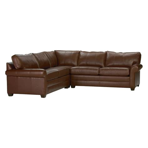 ethan allen leather sectional bennett roll arm leather sectional devine acorn ethan