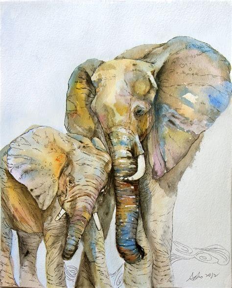 painting elephant ooak 8x10 original watercolor elephant nursery