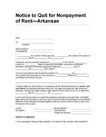Notice To Quit Sle Letter by Arkansas Notice To Quit For Nonpayment Of Rent Legalforms Org