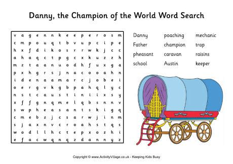 Search In World Danny The Chion Of The World Word Search