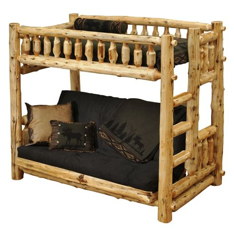 cedar log bed traditional cedar futon twin right ladder log bunk bed