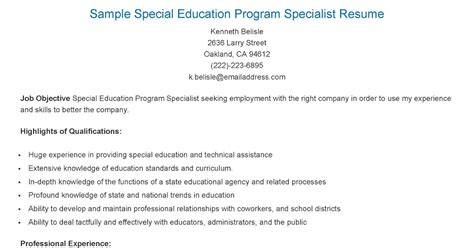 resume sles sle special education program specialist resume
