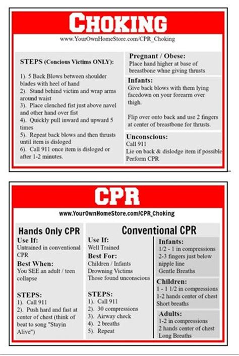 printable choking instructions cpr and choking first aid basics your own home store