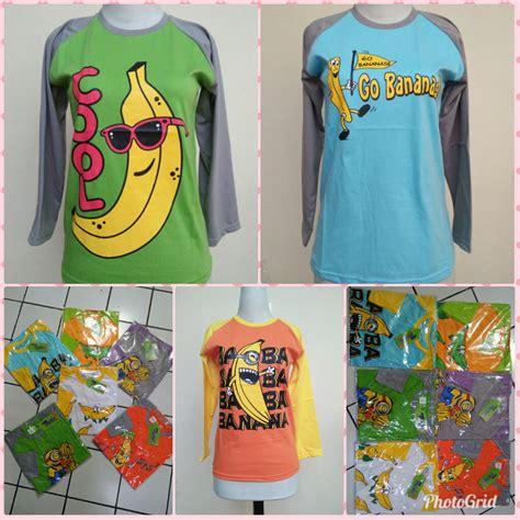 Baju Banana sentra grosir kaos raglan abg motif banana murah bandung