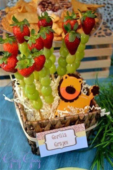healthy jungle snacks safari theme baby shower pinterest