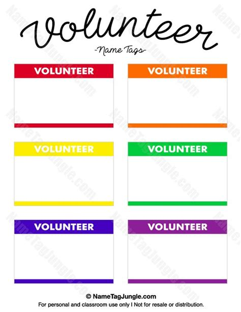 church volunteer card template free printable volunteer name tags the template can also