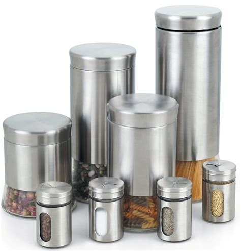 kitchen canisters stainless steel stainless steel 8 piece canister and spice jar set contemporary kitchen canisters and jars