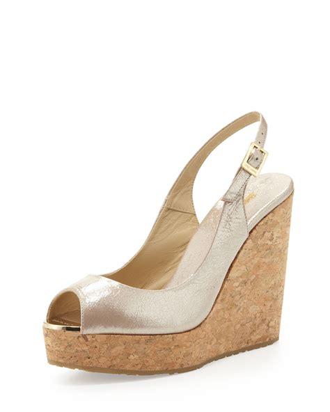 14 Jimmy Choo Shoes by Lyst Jimmy Choo Prova Patent Slingback Wedge Chagne