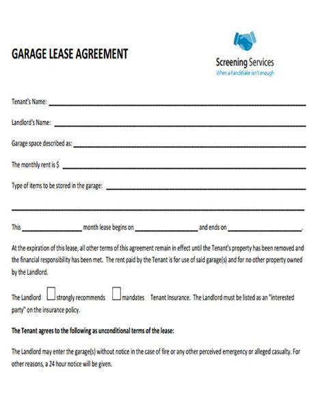 33 Commercial Lease Agreement Sles Sle Templates Storage Space Lease Agreement Template