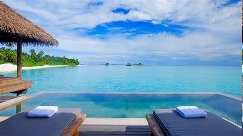 swimming pool beach resort sea palm trees tropical