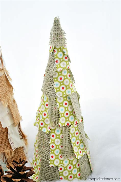 fabric scrap christmas trees at the picket fence