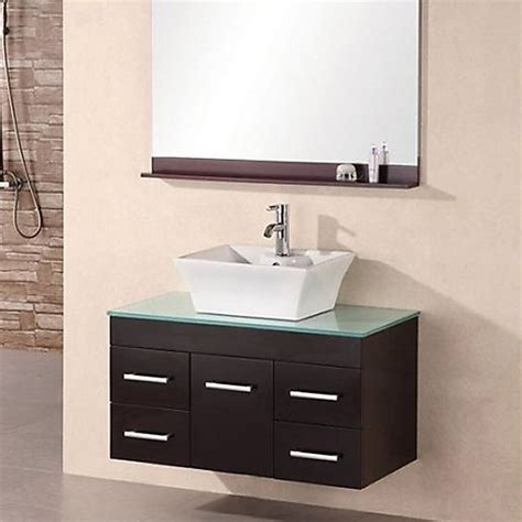 design element bathroom vanities shop design element madrid espresso single vessel sink bathroom vanity with tempered glass and