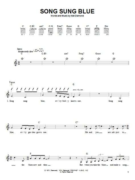 song sung blue song sung blue sheet music by neil diamond guitar with