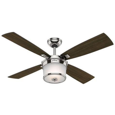 amazon ceiling fans with remote hunter kimball 52 in led indoor polished nickel ceiling