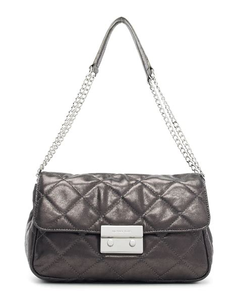 Michael Kors Quilted Handbags by Michael Kors Large Sloan Quilted Shoulder Bag In Silver