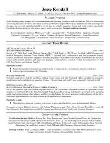 Machine Operator Resume Exles by Free Machine Operator Resume Exle
