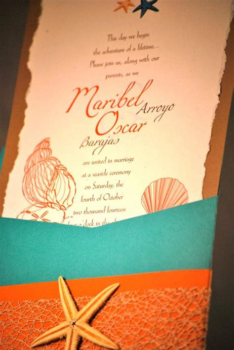 turquoise coral theme wedding invitation