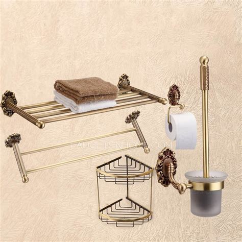 advanced 5 antique brass bathroom accessory sets