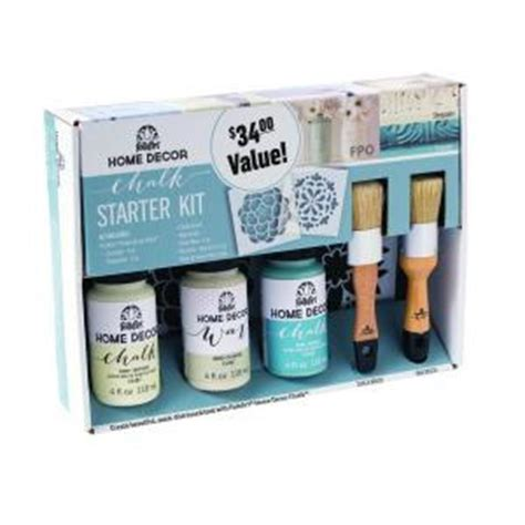 Folk Home Decor Chalk Paint by Folkart Home Decor Cascade And Sheepskin Chalk Finish Paint Starter Kit 34187 The Home Depot